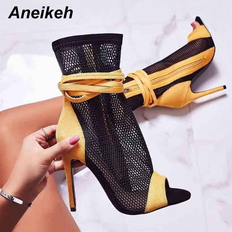 New Summer Womens Lace Mesh Floral Peep toe Ankle Boots Low Heel Sandals Shoes