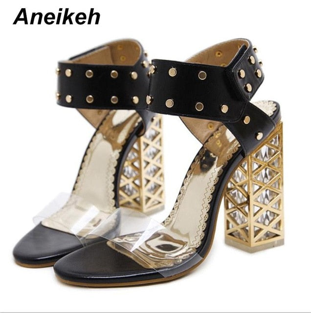 ... Aneikeh New Sandals Summer Shoes Women 2018 Sexy PVC Crystal Open Toe  High Heels Sandals Shoes ... 861cfa2850cc