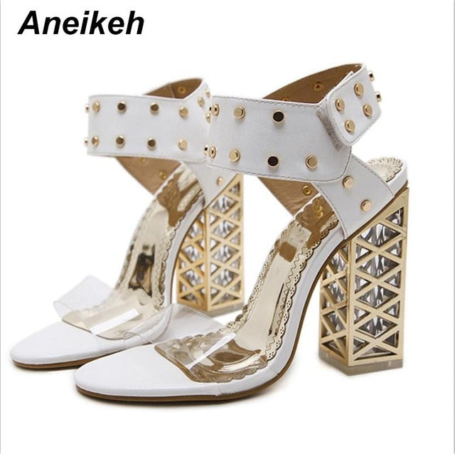 ... Aneikeh New Sandals Summer Shoes Women 2018 Sexy PVC Crystal Open Toe  High Heels Sandals Shoes 754827c96a92