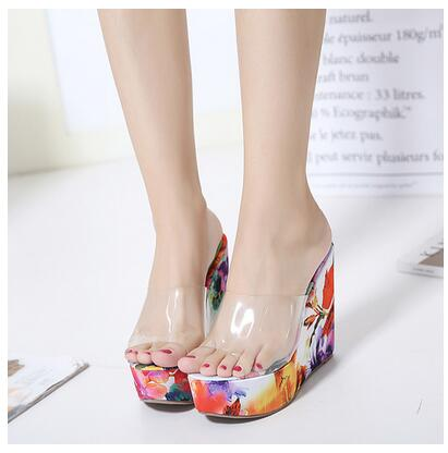 e9a54b0af40 New Spring 2018 Women Slippers Summer Wedge Sandals Women Transparent Jelly  Shoes Heel 12.5CM High Blue Orange 063-123#