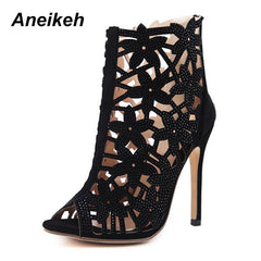 d17c96ab76e Aneikeh New Summer Roman Shoes Women Sandals Sexy Rhinestone Hollow Peep  Toe Sandals High Heels Woman ...