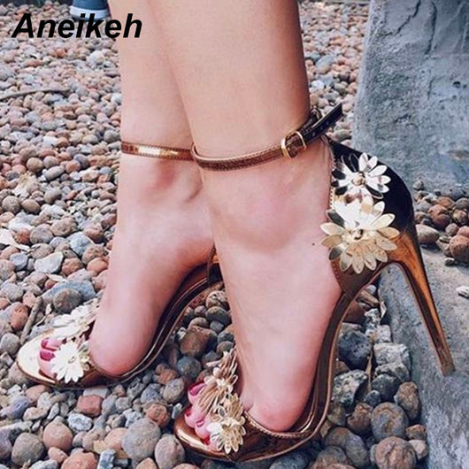 Aneikeh Sandals Summer Gold Flower Women Wedding Shoes Open Toe