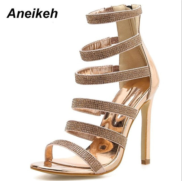 35983177ccc Aneikeh Sexy Bling Crystal Gladiator Sandals Rhinestone Women s Shoes Open  Toe Stiletto High Heels Ladies Party. Hover to zoom