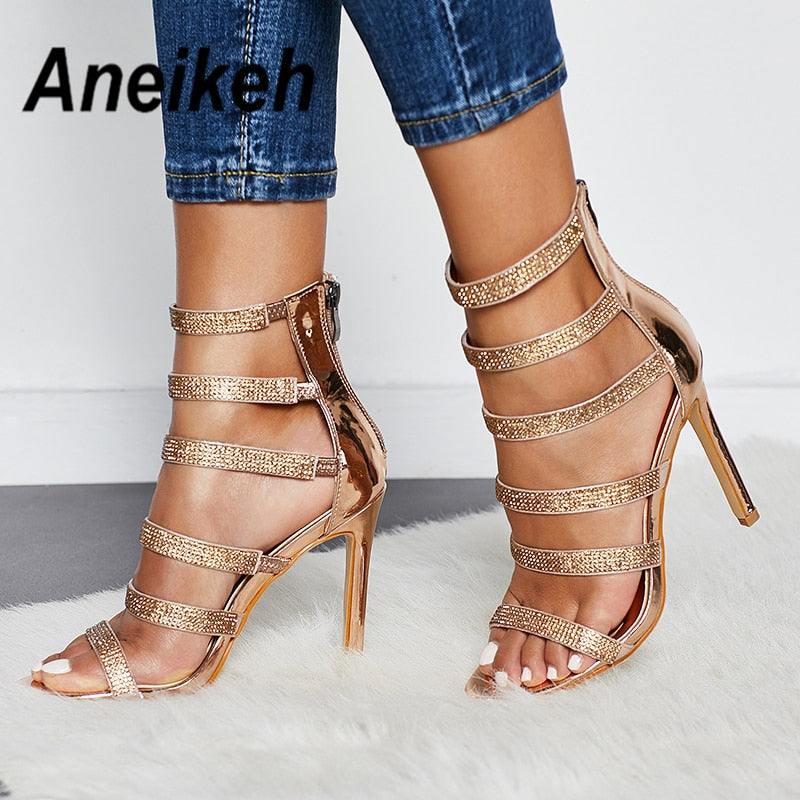 11f424987 Aneikeh Sexy Bling Crystal Gladiator Sandals Rhinestone Women s Shoes Open  Toe Stiletto High Heels Ladies Party. Hover to zoom