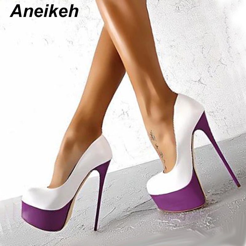 40ff80f2af0263 Hover to zoom · Aneikeh Sexy High Heels 16cm Wedding Shoes Woman Pumps Platform  Shoes For Party Stiletto Heel Bridal