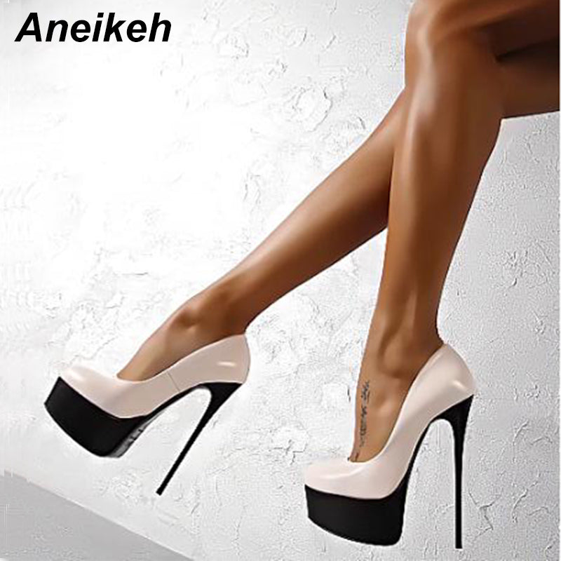 8a54516b35 Hover to zoom · Aneikeh Sexy High Heels 16cm Wedding Shoes Woman Pumps  Platform Shoes For Party Stiletto Heel Bridal