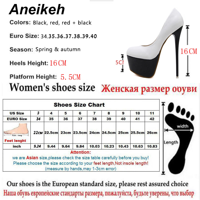 91f5710f546 Aneikeh Sexy High Heels 16cm Wedding Shoes Woman Pumps Platform Shoes For  Party Stiletto Heel Bridal Shoes Size 34 - 40