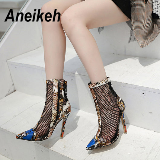 Aneikeh Spring Autumn Fashion SNAKE PRINT Mesh ANKLE BOOTS Pointed End  Boots Shoes Woman Thin Heels High Heels Chelsea Riding