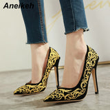 Aneikeh Spring Sexy Pumps Shoes Woman Fetish Shoes High Heel Slip-On Pumps Wedding Party Basic Shoes Thin Heels Zapatos Mujer