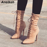 Aneikeh Stretch Fabric Cross Strap Boots Women Sexy Pointy Stiletto Heel Lace Up Ankle Boots Concise Design Fashion Dress Shoes