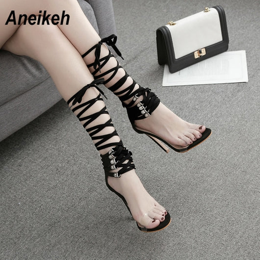 Aneikeh Thin Heels Ankle Strap Sandals Women PVC Transparent Lace Up Sandals Summer Open Toe Concise Ladies Shoes Dropshipping