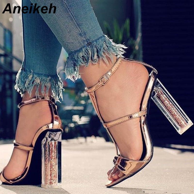 7df2f18297b Hover to zoom · Aneikeh Transparent High Heel Sandals 2018 New Summer Women  Sexy ...