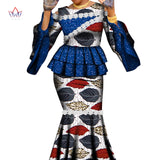 Ankara Outfits Summer Wax Fabric Skirt Sets African Wax Print 2 Pieces Skirt Suit Traditional African Womens Clothing WY7112