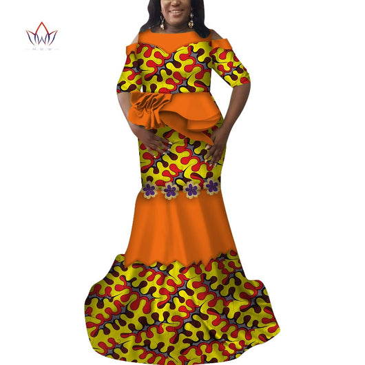 Ankara Outfits Summer Wax Fabric Skirt Sets African Wax Print 2 Pieces Skirt Suit Traditional African Womens Clothing WY7017