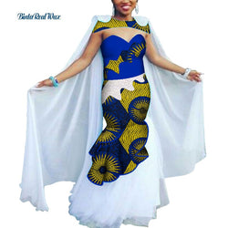 Ankara Print Long Dresses Bazin Riche Patchwork Lace Yarn Dresses African Dresses for Women Traditional African Clothing WY4243