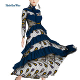 Ankara Print Long Dresses Draped Ruffles Dress African Dresses for Women Bazin Riche Traditional African Clothing WY4245