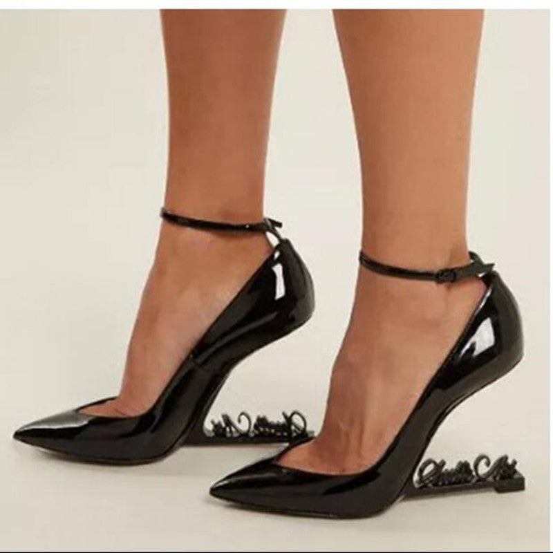 3ef44e3be73 Ankle Strap Dress Party Wedding Shoes Woman Strange High Heels Pointy Toe  Pumps Black Patent Leather High Heels Zapatos Mujer