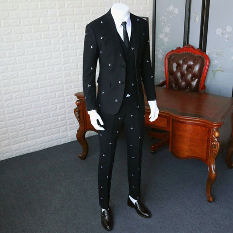 Anti-wrinkle Suit Blazer Slim Fit / Man Pure Black Embroidery Suit Jacket / Men Wedding Dresses Three Pieces Suit 365wt19