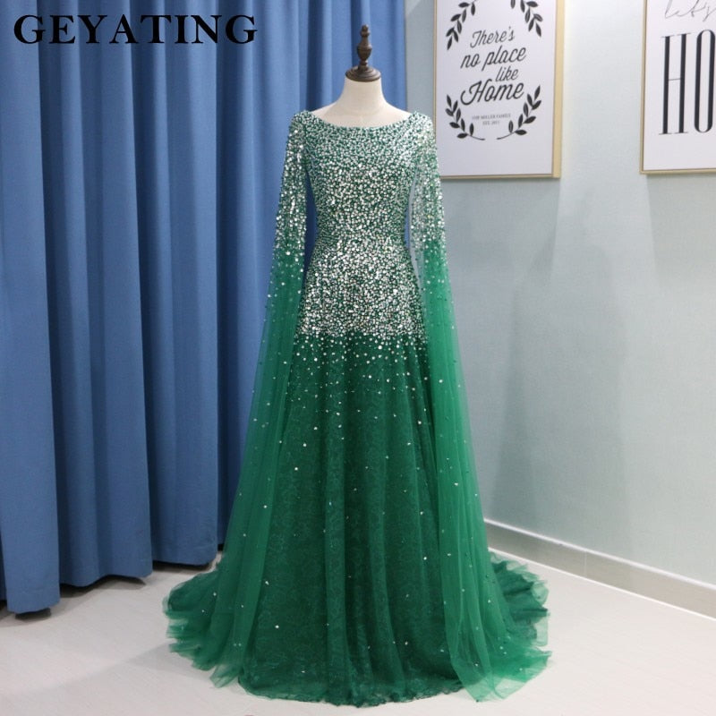 e5d665ce70dd Arabic Emerald Green Evening Gowns with Cape Sleeves Beaded Crystal Blush  Pink Champagne Tulle Long Dubai .
