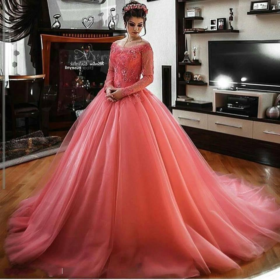 Arabic Evening Dresses sweep Train Gala Dress Floor Length Long Sleeve  Party Gown Dubai Elgenat Coral ... 764665bb0367