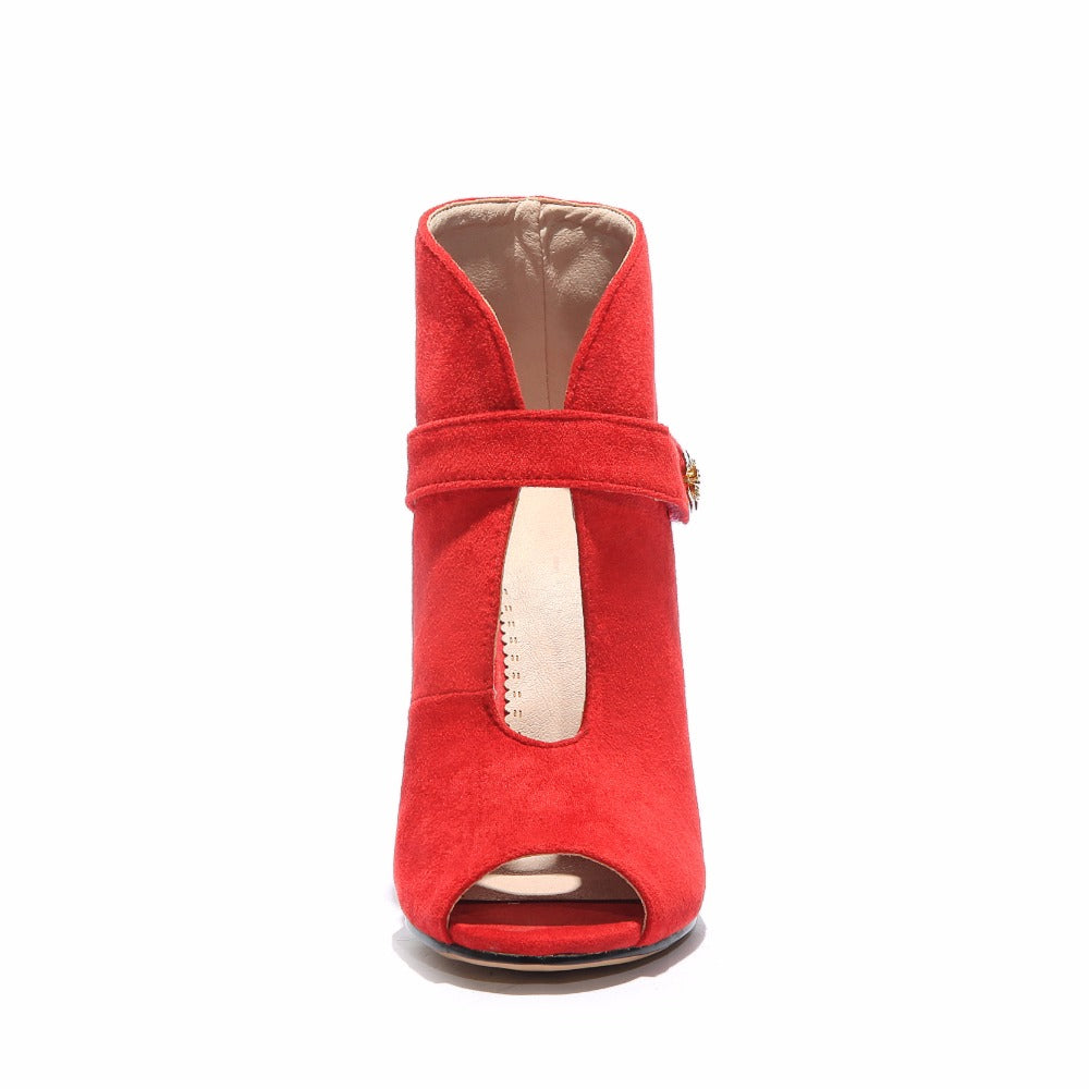 609765f708e Arden Furtado 2018 summer new sexy high heels 11cm stilettos ankle boots  red peep toe fashion short boots small size 33 sandals