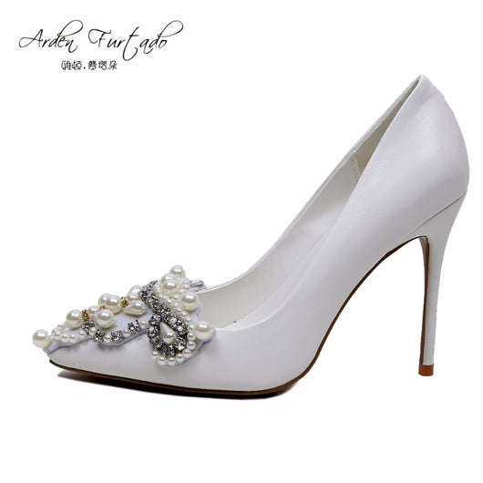 Arden Furtado Fashion 2017 spring autumn pearl white wedding shoes for women sexy high heels stiletto pumps plus size woman lady