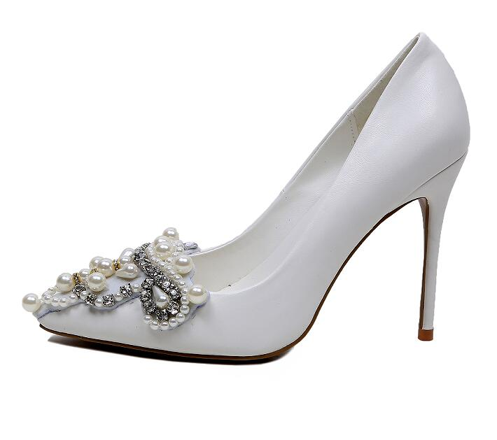 c07a8fc907d0 ... Arden Furtado Fashion 2017 spring autumn pearl white wedding shoes for  women sexy high heels stiletto