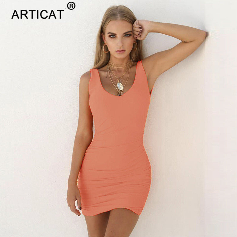 d616d18ee06c52 Articat Sexy Backless Bodycon Dress Women V Neck Sleeveless Sheath Pencil  Bandage Mini Dress Casual Club. Hover to zoom