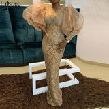 Aso Ebi Vintage Gold Lace Evening Dresses 2020 New Sheath Floor Length Puffy Long Sleeve African Women Formal Dress Prom Gowns