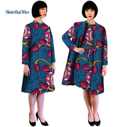 Automn African Print Dress and Suit Coat for Women Bazin Riche 100% Cotton 2 Pcs Sets Traditional African Women Clothes WY4908
