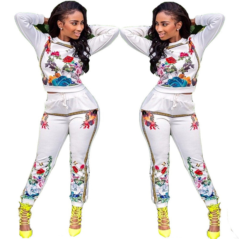 e3943e0ef2c3 ... Set Women Tracksuit Printed Long Sleeve Sweatshirt and Pant Leisure  Suits Two Piece. Hover to zoom