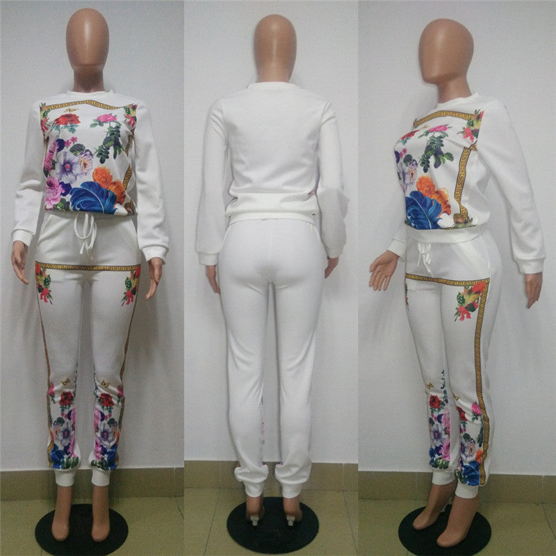a8b1249c04b7 Autumn 2 Piece Set Women Tracksuit Printed Long Sleeve Sweatshirt ...