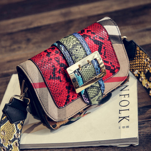 Autumn 2016 Buckle Crossbody Bags For Women Cow PU Snake Leather Snake Designer Shoulder Bags High Quality Women Messenger Bags