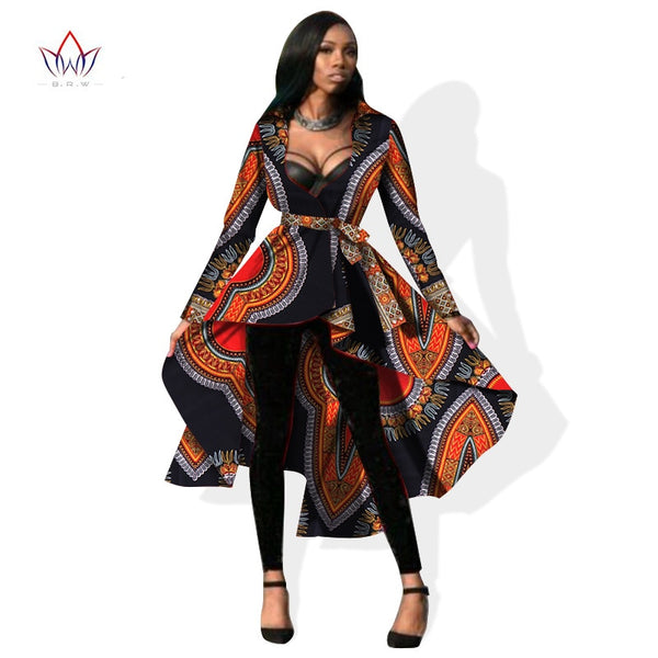 Autumn African Dresses for Women Trench Women Long Sleeve Maxi Outwear Trench Coat Womens Dashikis Brand Clothing 6XL WY596