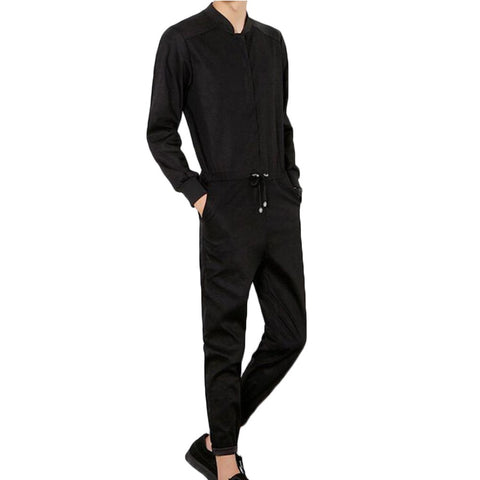 Autumn New Men Jumpsuit Casual Fashion Trousers Male Long Sleeved Jumpsuit A Piece Pants Overalls Tooling