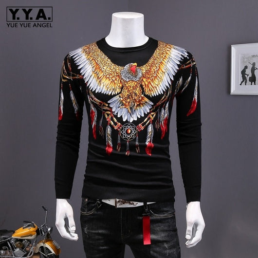 Autumn New Mens Vintage Eagle Printed Pullover Sweater Long Sleeve Slim Fit Knitted Tops Fashion Retro Knitwear Sweaters Black
