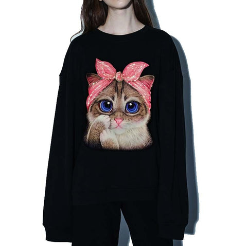Autumn Spring 2018 New yellow lip black Embroidery Sequins 3D CAT Sweatshirt Hoody Long Tops Outerwear women top big size S-XXXL