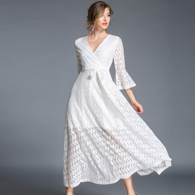 8f6194175f Autumn V-neck Hollow Out White Lace Dress Women Clothes 2019 Robe Longue  Big Swing. Hover to zoom