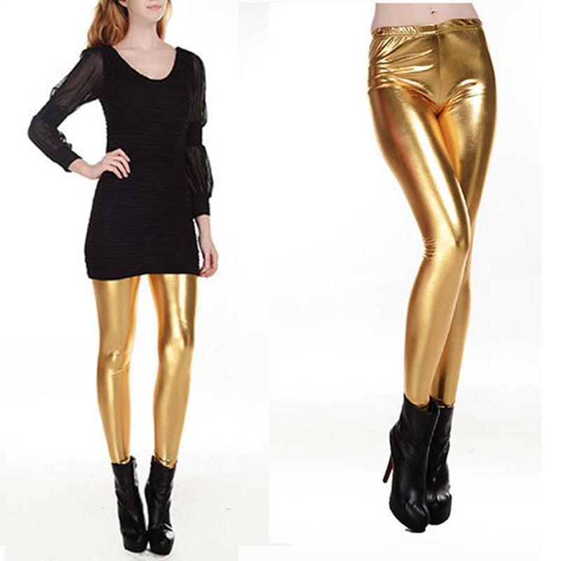 a43a2cbf5192 ... Pants Women High Waist Skinny Stretch Pencil Leggings Sexy Black Golden  Silver. Hover to zoom