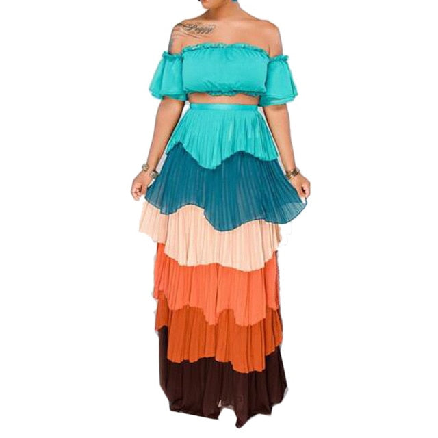 1aadbecbb ... Top High Waist Long Skirt Two Piece Sets Sexy Clubwear Colorful. Hover  to zoom