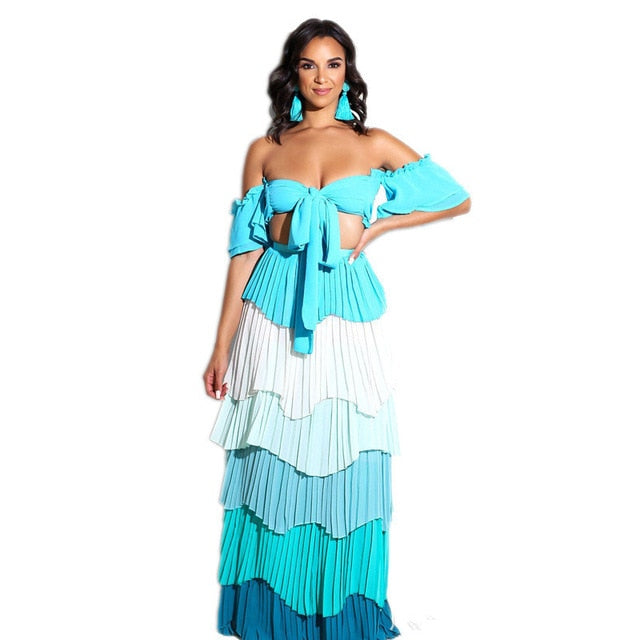 07783f7a2 Hover to zoom · Autumn Women Boho Strapless Crop Top High Waist Long Skirt  Two Piece Sets Sexy Clubwear Colorful