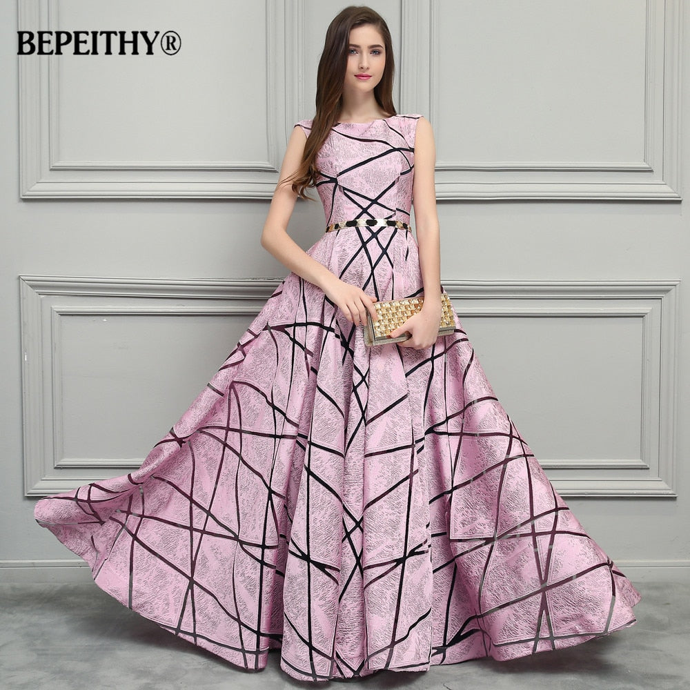 ab7b8876af49b BEPEITHY Vintage Pink Long Evening Dress Simple Style New Formal ...