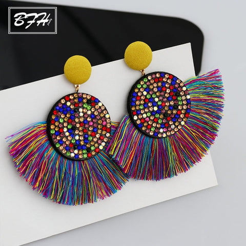 Image of Fashion Bohemia Tassel Earrings Vintage Silk Large Handmade Fabric Dangle Drop Crystal Big Earrings for Women Jewelry