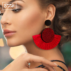 Fashion Bohemia Tassel Earrings Vintage Silk Large Handmade Fabric Dangle Drop Crystal Big Earrings for Women Jewelry