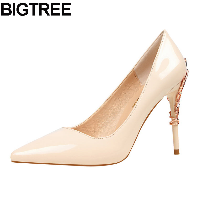 ff4a8d4ce3e BIGTREE Fall Luxury Women Pumps Faux Leather Metal Decro High Heel Stiletto  Wedding Bridal Dress Court ...