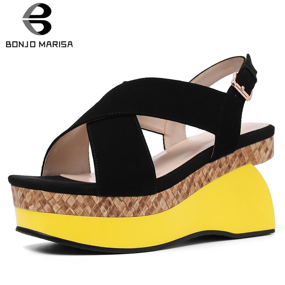 537ec40ec47 BONJOMARISA 2019 Fashion INS Hot Kid Suede Sandals Shoes Woman Summer  Sheepskin Inning Platform Women Shoes Wedge Sandals Woman