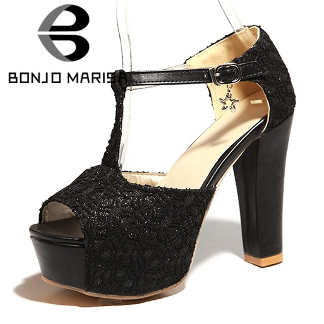 12e2de49243 BONJOMARISA New INS Sexy Women Lace Platform Sandals Summer Large Size  33-43 Party Night. Hover to zoom