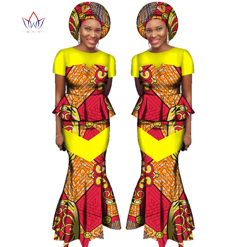 ... BRW 2017 African Skirt Set for Women Dashiki Free Headtie Plus Size  Africa Clothes Crop Top ... 1a6a75e45c39