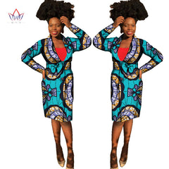 02e3b59afd5 BRW 2017 Autumn Africa Wax Print Trench coat for Women Dashiki Elegant  Traditional African Clothes bazin ...