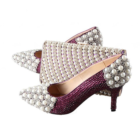 BS007  Custom Made Pointed Toe Gold Rhinestones Italian Shoes With Matching Bag Set Bridal Wedding Shoes Women Shoes Dress Pums